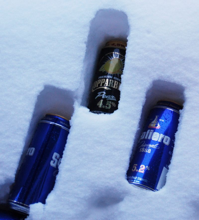 Beers in the snow
