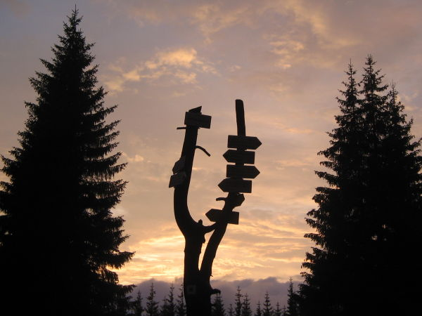 Hiking signs at sunset, Krkonose