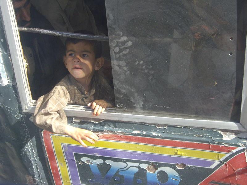 Kid on bus, Quetta, Pakistan