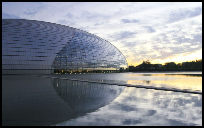 A sunset over the new National Theater, Beijing