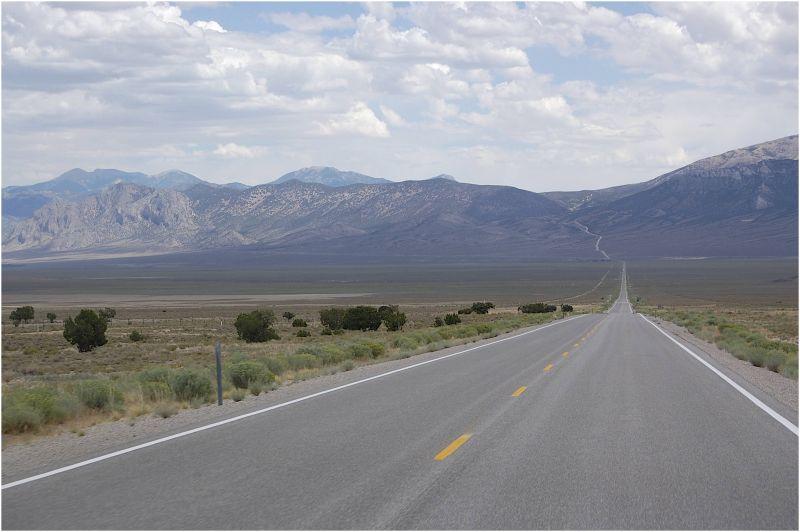 Rte 6 crossing desert toward the Sierra Nevadas