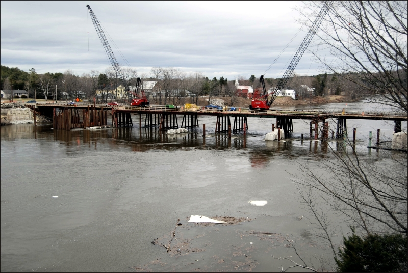 Rebuilding Norridgewock Bridge Maine 2009 #3