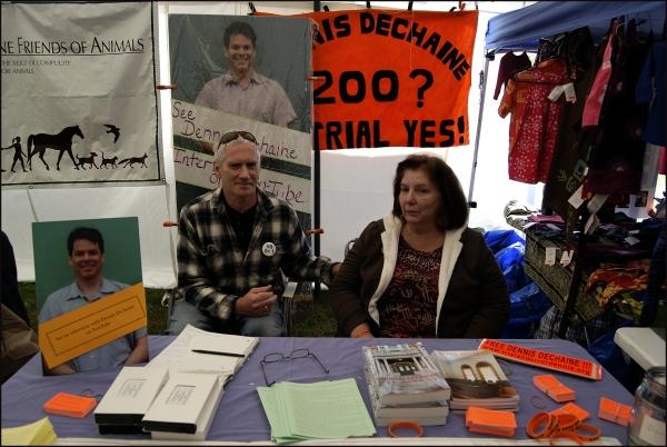 Dennis Dechaine Booth at Common Ground Fair, Maine