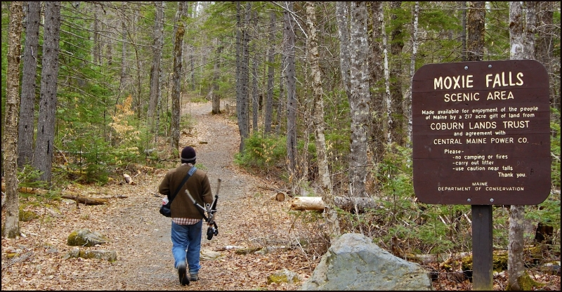 Following the Trail at Moxie Falls, Maine