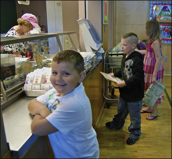 Student In School Lunch Line