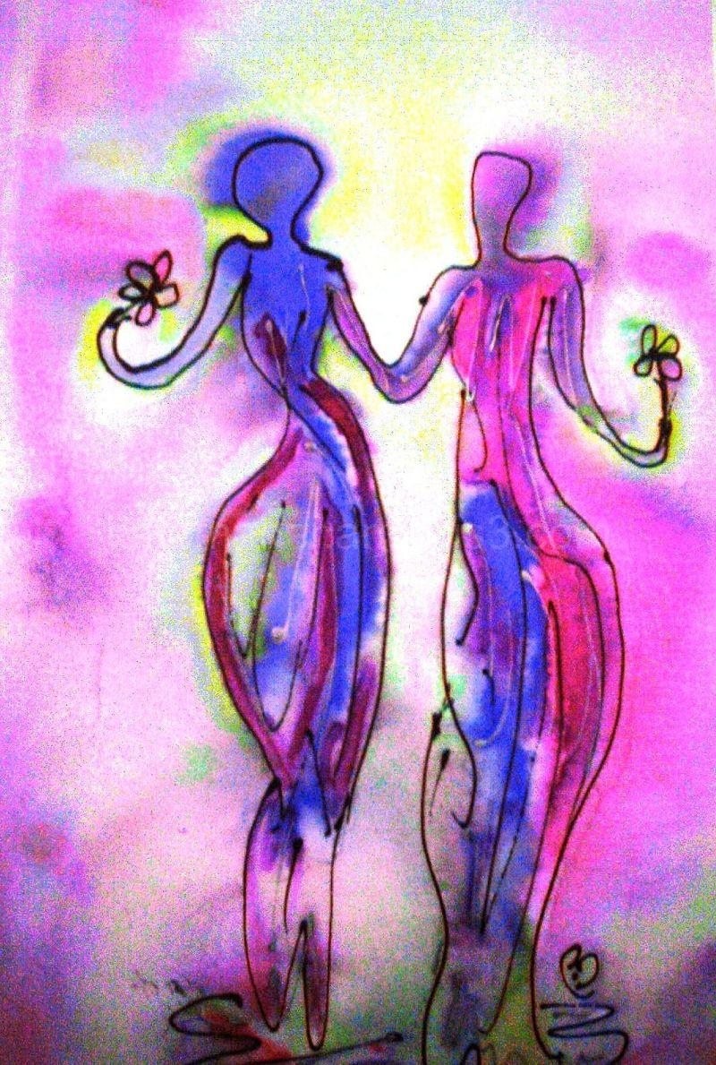 rainbow women flowers hearts
