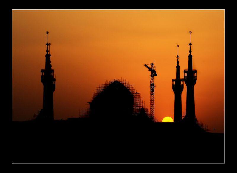 mosque Tehran Highway sunset sun