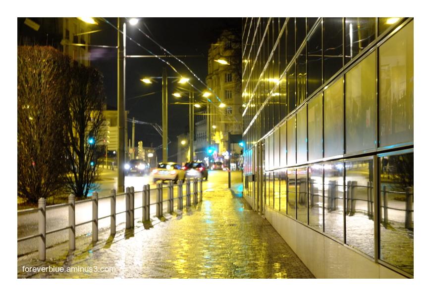 ... WALKING UNDER CITY LIGHTS ...