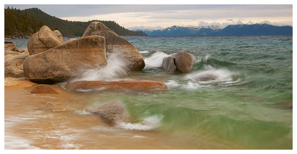 Crashing waves in Lake Tahoe