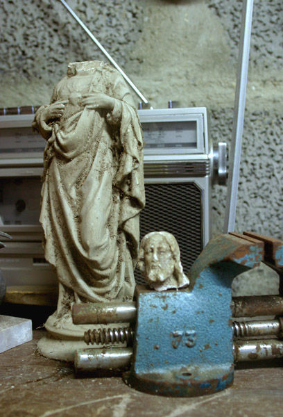 A beheaded statue of Jesus