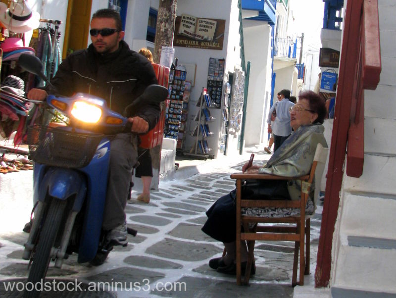 The motorbike and the lady