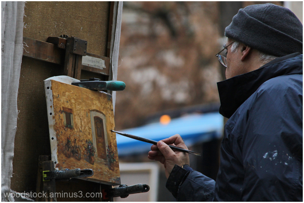 The artist at work in Montmartre