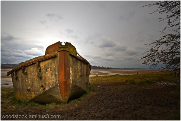 Beached Concrete Boat