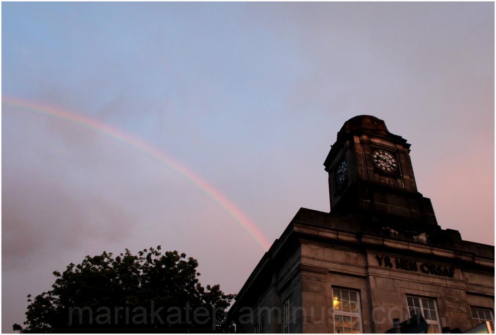 rainbow clock tower