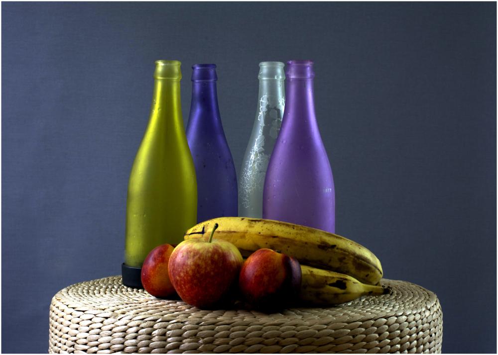 Coloured Bottles And Fruit,still life,