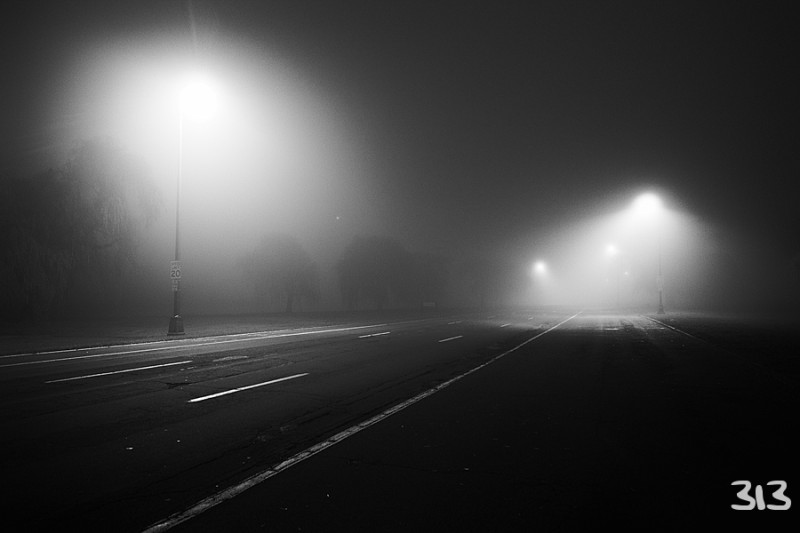 Street Lamps With Fog