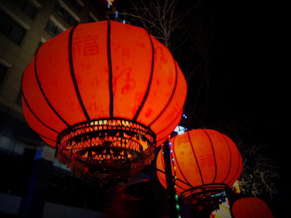 Chinese lanterns in a cold winter night