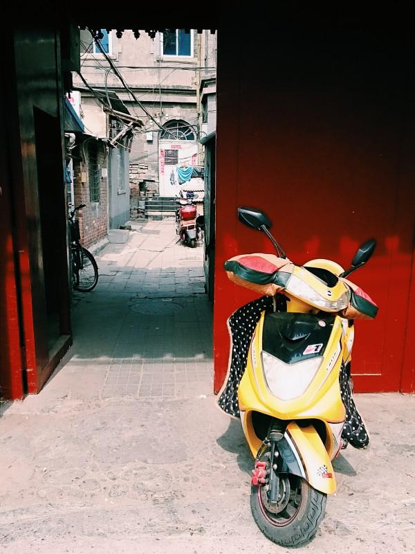 Motorcycle & Beijing-style Courtyard