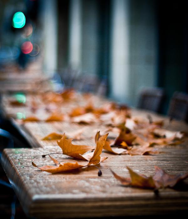 des feuilles mortes sur uen table de café à Cahors