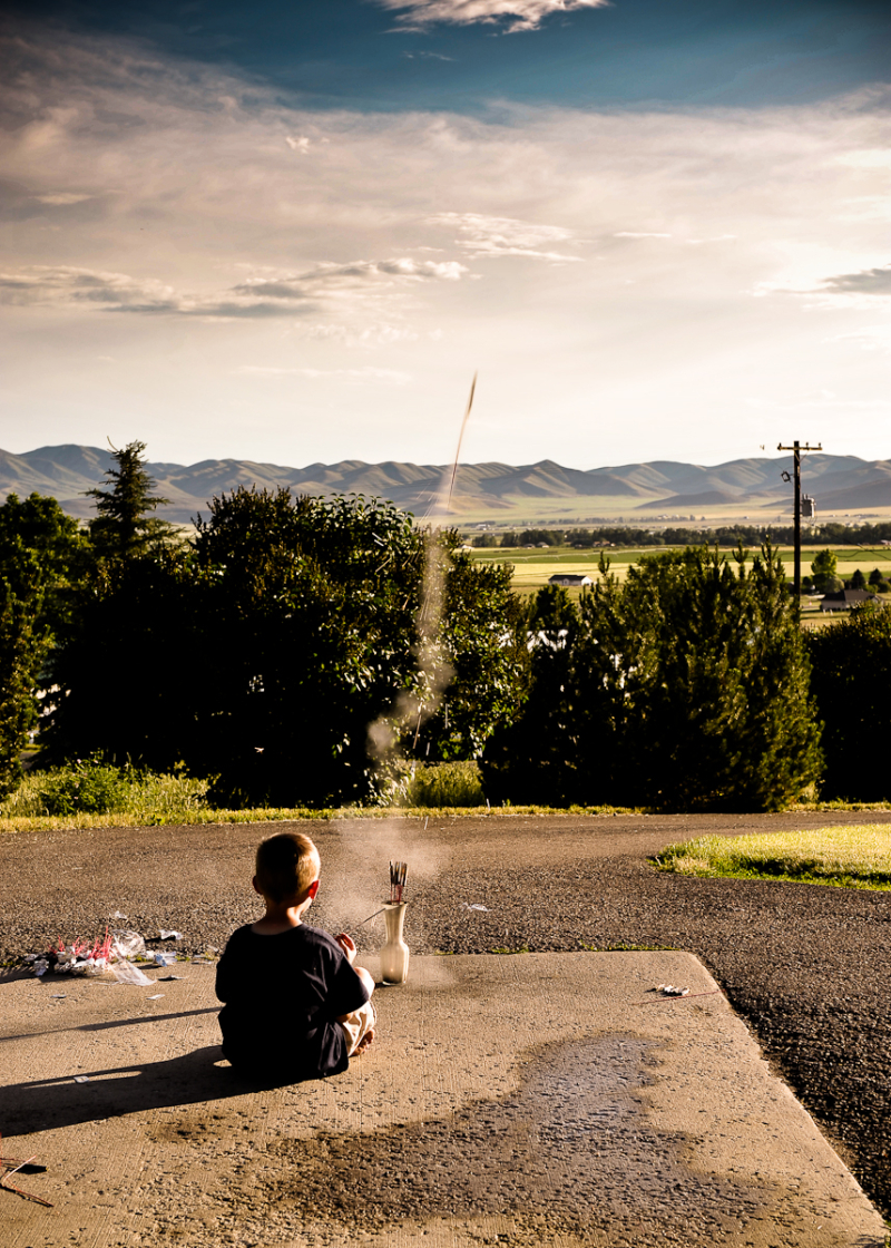 william alva launching bottle rockets on the 4th