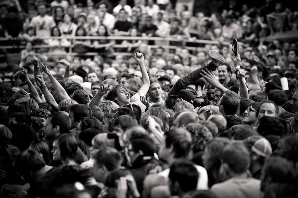 crowd surfing at salt lake sonic youth concert.