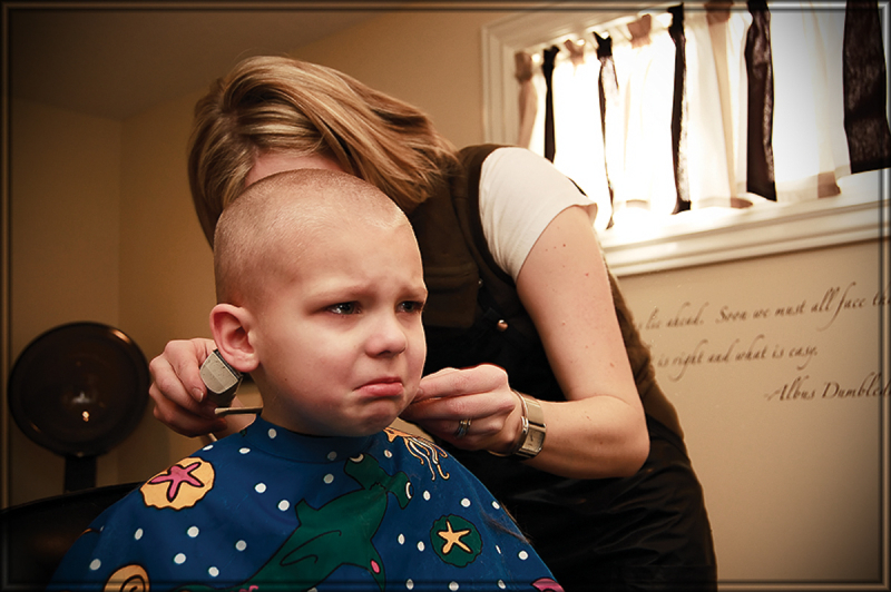 william's first buzz cut