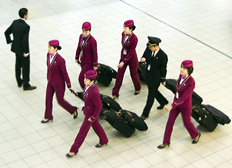 Airline crew on the way to their plane