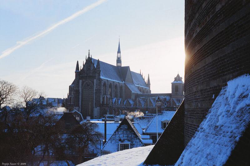 Hooglandse Church in the snow