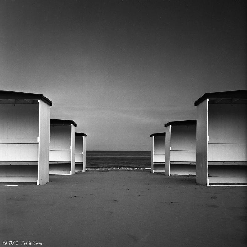 Beach cabins at the Dutch coast