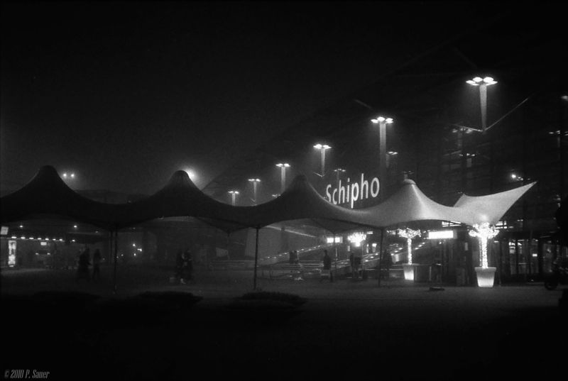 Foggy night at Amsterdam Airport