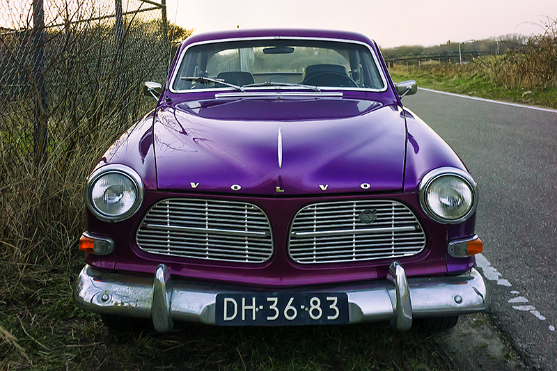 volvo classic car purple