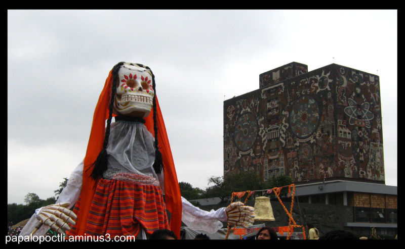 Durante la Megaofrenda de la UNAM, 2010