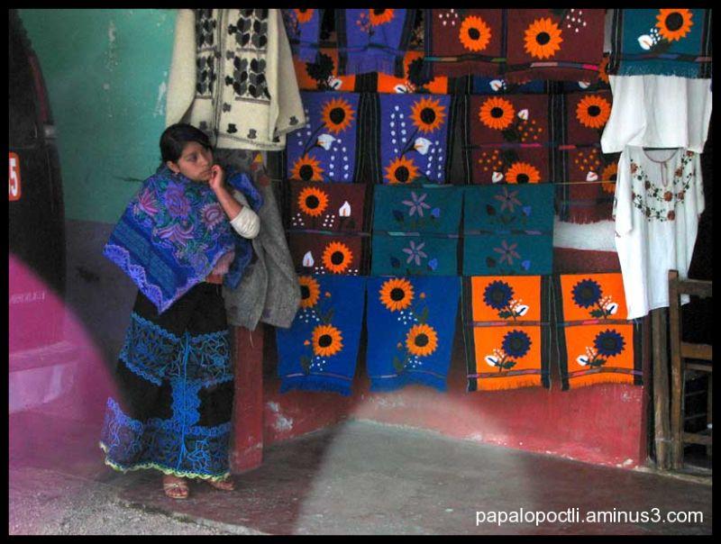 Mujer chiapaneca esperando entre bordados