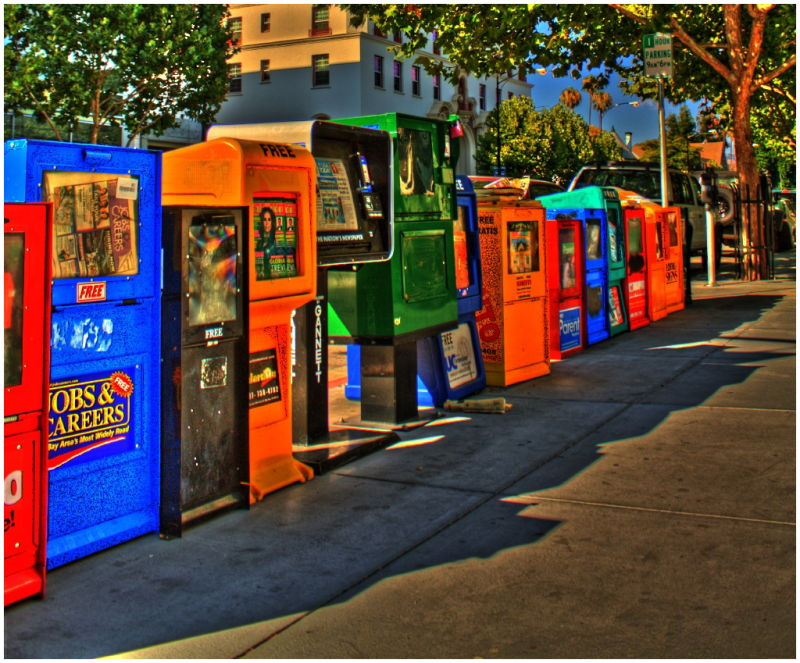 colorful news stands in downtown San Jose