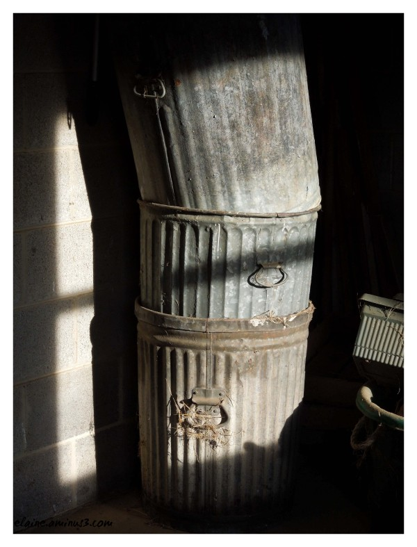 stacked trashcans