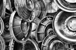 hanging hubcaps