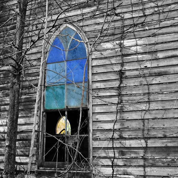 abandoned church window