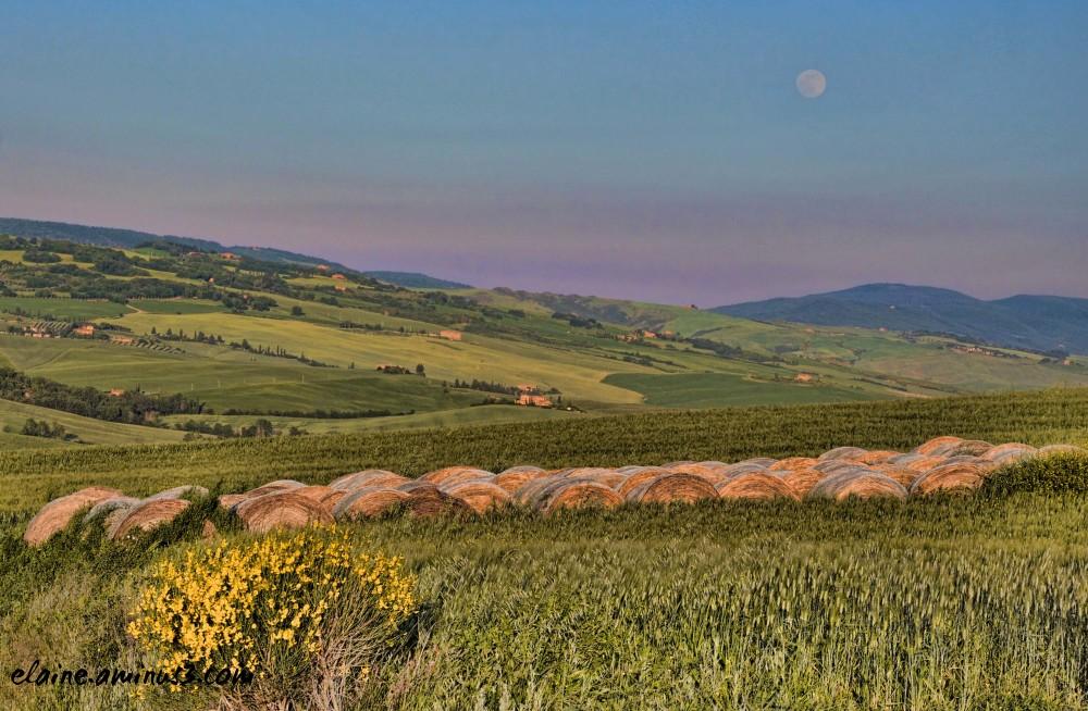 full moon over hay bales