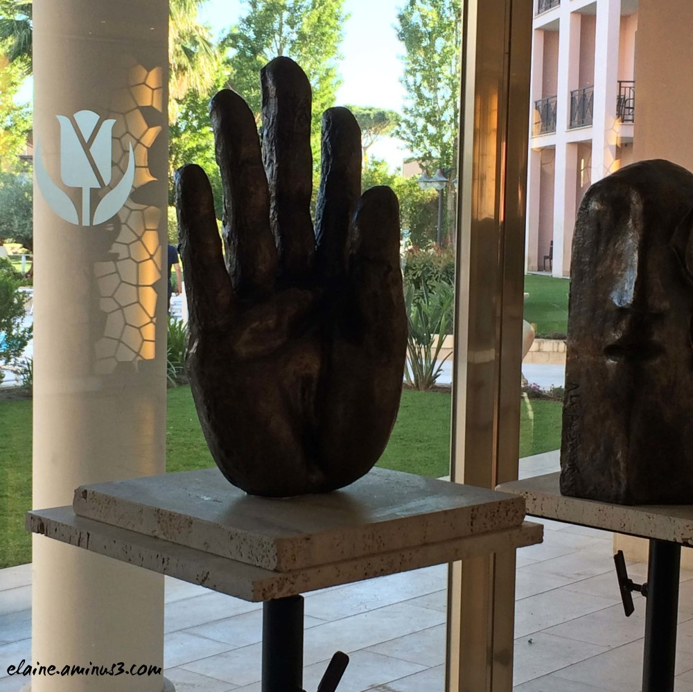 metal hand sculpture