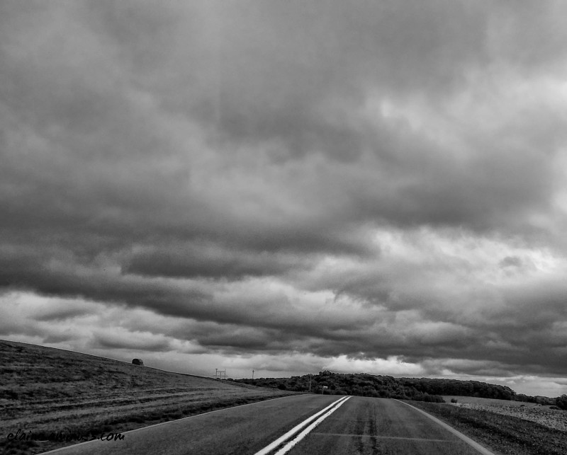 road and overcast sky