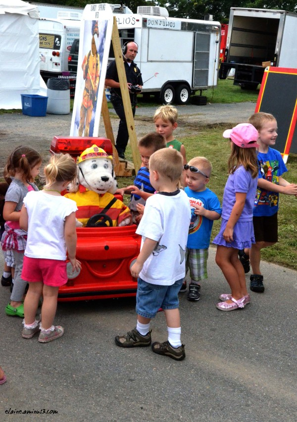 children and Sparky the Fire Dog