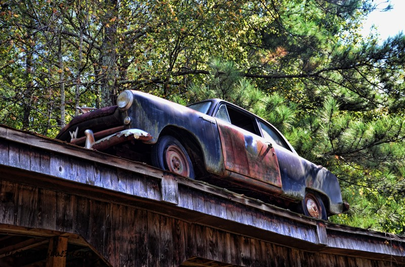 car on a shed