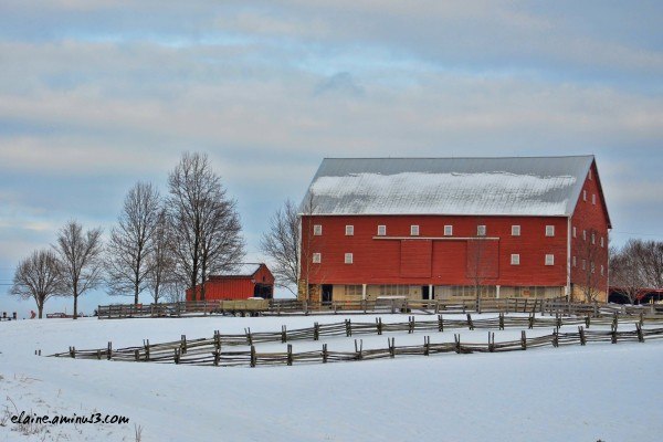 red barn and snow