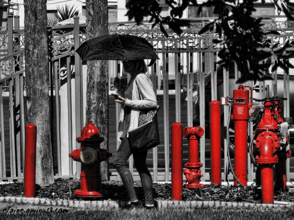 woman and red pipes