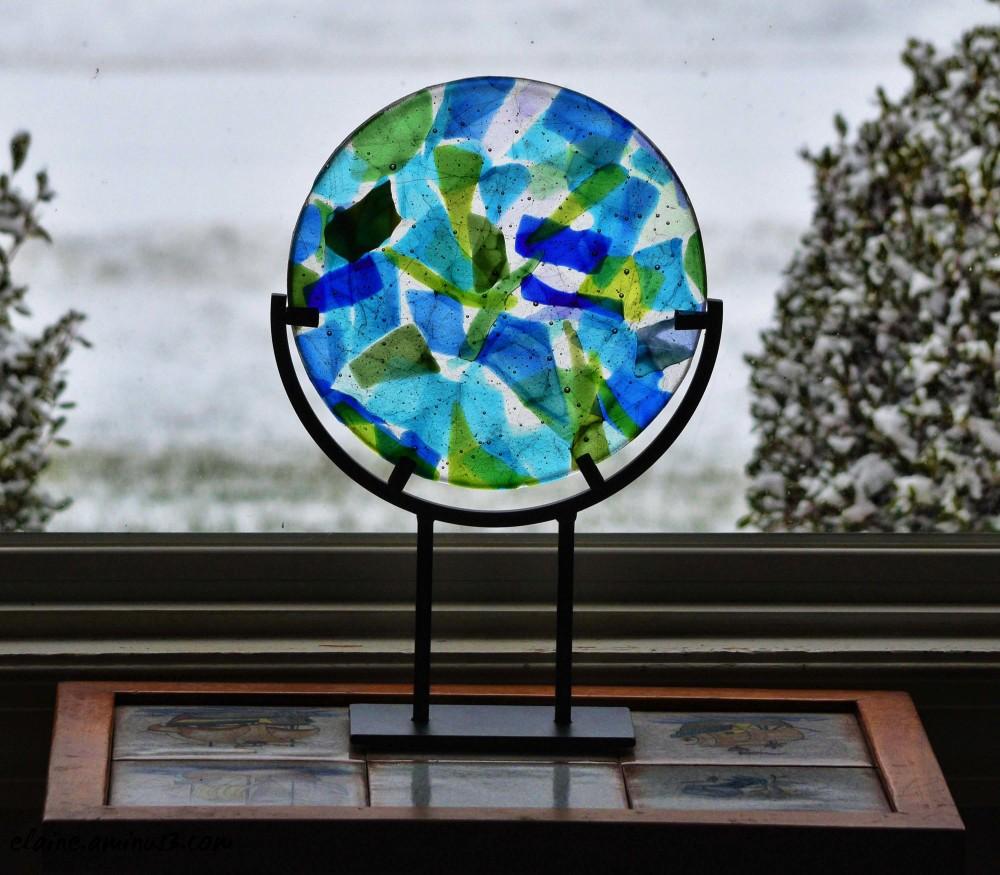 fused glass circle
