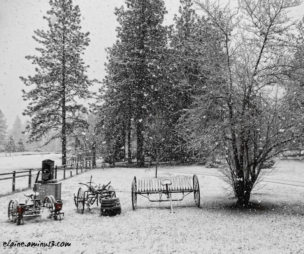 farm equipment in snow