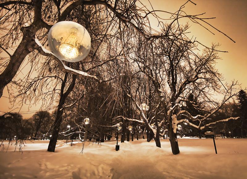 Trädgårdsföreningen Linköping Sweden snow