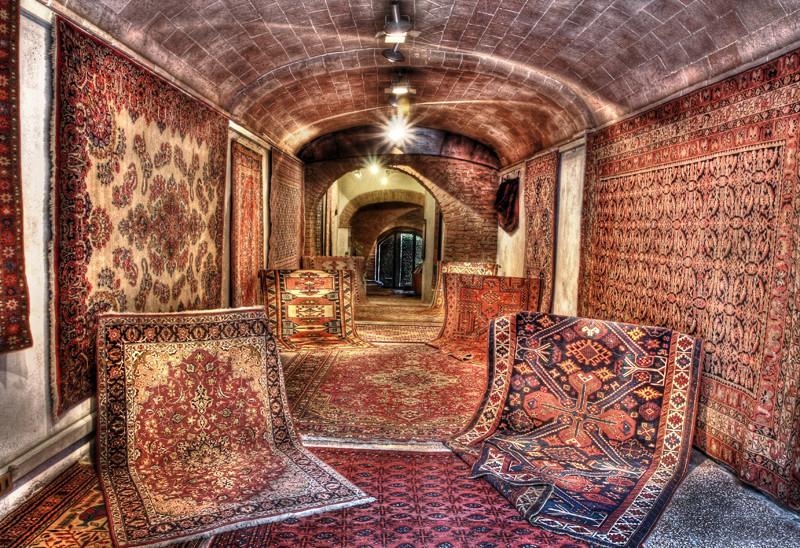 A carpet shop in Siena
