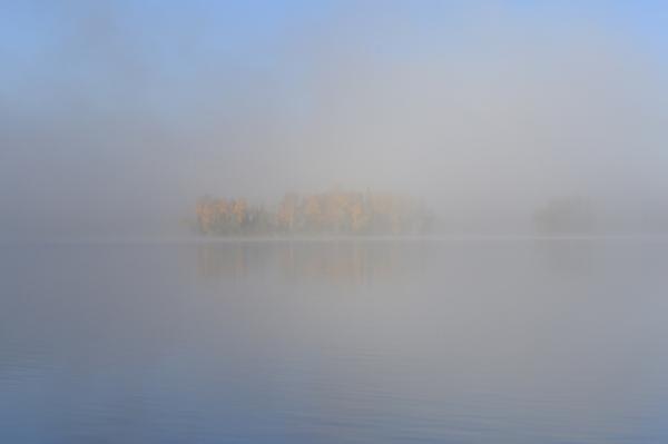 Sky, lake and fog