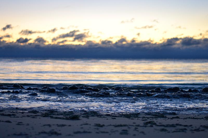winter sunrise at beach